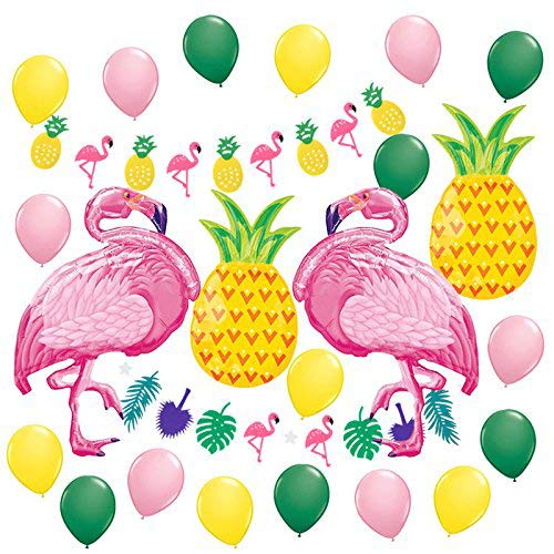BALONAR Summer Party Decoration Kit Tropical Party Flamingo Pineapple Garland Banners Yellow Pink Dark Latex balloons Hawaiian Luau Beach Supplies Flamingos Pineapples Party Decor
