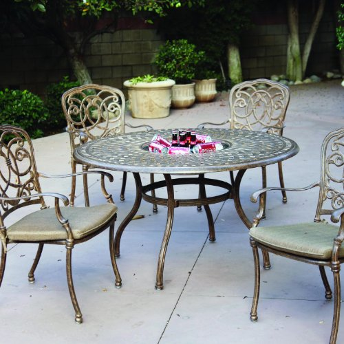 Darlee Florence 5 Piece Cast Aluminum Patio Dining Set - Dining Table With Ice Bucket Insert - Mocha -