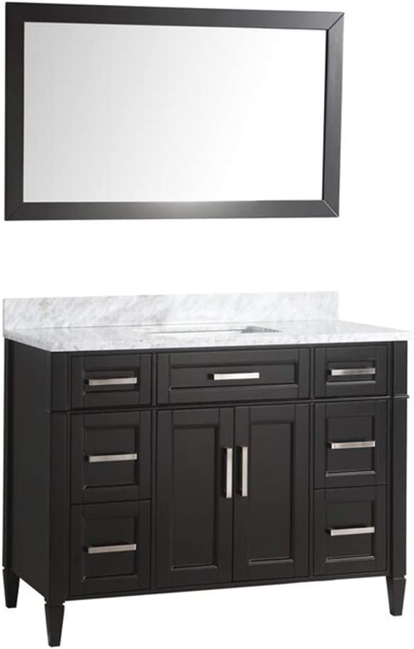 Amazon Com Vanity Art 48 Inch Single Sink Bathroom Vanity Set Carrara Marble Stone Top Soft Closing Doors Undermount Rectangle Sink Cabinet With Free Mirror Va2048 E Kitchen Dining
