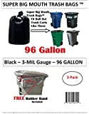 96 Gallon Super Big Mouth Trash Bags 3-Pack Plus 1 Free Rubber Tie Down Band