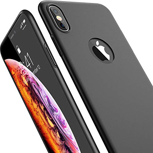 CASEKOO iPhone Xs Case, Ultra Thin Slim Fit Xs Case, Hard Matte Finish (Logo Visible) with Great Grip Anti-Scratch Cover Case Only for iPhone Xs 5.8 inch [Shell Series] - Space Black