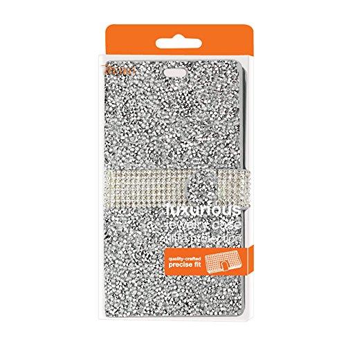 Reiko Samsung Galaxy J3 Rhinestone Wallet Case - Retail Packaging - Silver