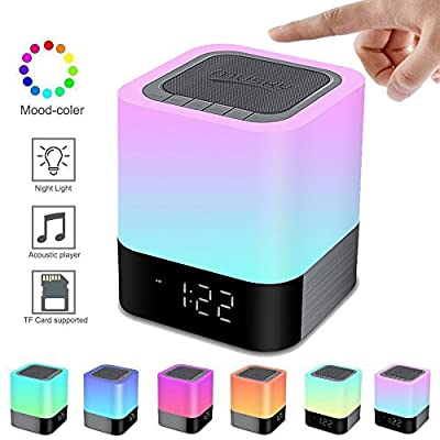 Elecstars Portable Night Light -Touch Sensor Bedside Lamp with Bluetooth Speaker Dimmable Table Lamp with Alarm Clock 4000mAh Battery Support MP3, USB, AUX Best Gift for Kids, Party, Bedroom, Outdoor