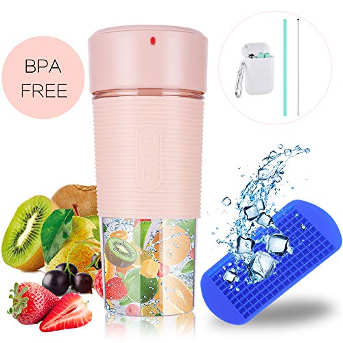 Portable Blender with Unique Straw/Mini Portable Juicer with 350ML BPA-Free Juicer Cup/Personal Fruit Mixer with 1 Blade for Juice, Smoothie and Milkshake (Best All Around Juicer)