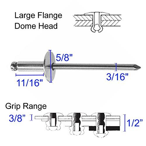 - BoltmanShop 3/16 Dia. Large Flange 3/8-1/2 Grip All Aluminum Panel Blind Rivets (50pkg)