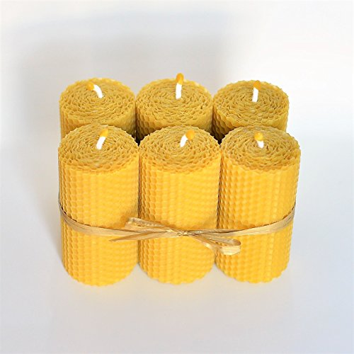 100% Beeswax Pillar Candles Set of 6 Size 4 x 2 in (10 x 5 cm) Hand Rolled Natural and Lovely Honey Scent 100% Handmade