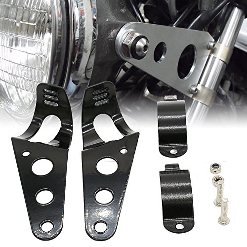 Fork Light (Frenshion 38-51mm Motorcycle Headlight Lamp Mount Fork Bracket Black Universal for Chopper Bobber Street Bike Cafe Racer Harley Davidson)