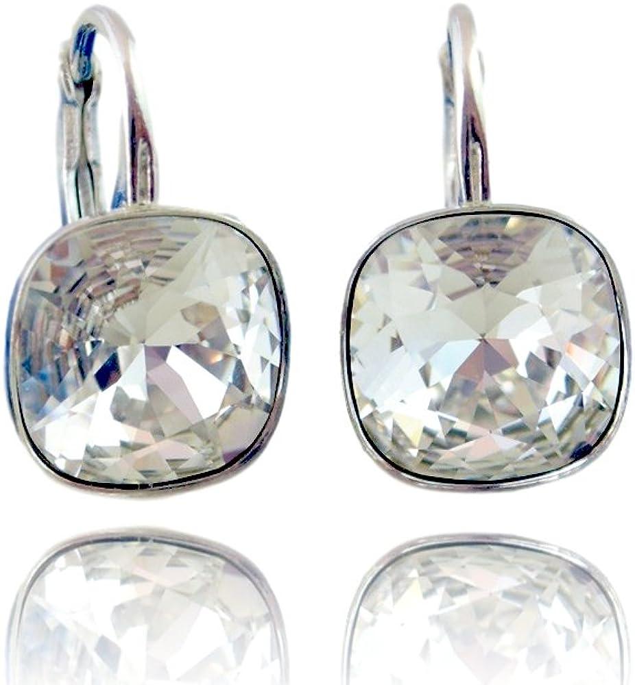 Crystals & Stones - Pendientes, plata de ley 925, con cristales Swarovski, incluye caja de regalo