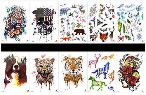 Grashine 10pcs tattoo tiger tattoos in a packages,including horse,dragon with flowers,flower,tiger,skull,wolf,leopard,deer,butterfly,leaves,etc. -