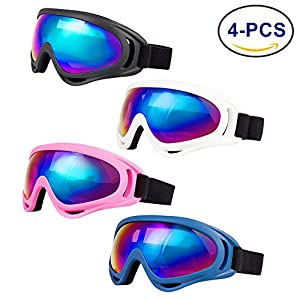 LJDJ Ski Goggles, Pack of 4 - Snowboard Adjustable UV 400 Protective Motorcycle Goggles Outdoor Sports Tactical Glasses Dust-proof Combat Military Sunglasses for Kids, Boys, Girls, Youth, Men, Women …