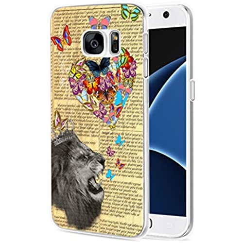 S7 Case Lion, Samsung Galaxy S7 Case Soft TPU Sides Color Arts Lion Animal Sales