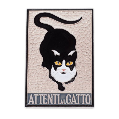 Hand Painted Italian Ceramic Cat Tile From Amalfi