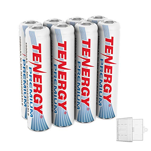 Tenergy 8 Pack Premium Rechargeable AAA Batteries, High Capacity 1000mAh NiMH AAA Batteries, AAA Cell Battery with 2 AAA Holders