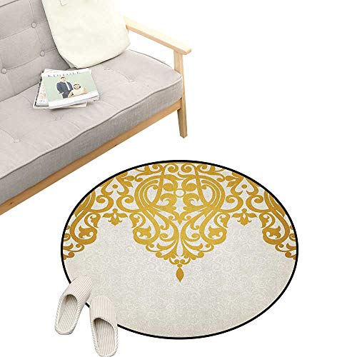 Antique Round Rugs for Bedroom ,Victorian Style Medieval Motifs with Classic Baroque Oriental Shapes Print, Skid Resistant Rug Pet Pad 23