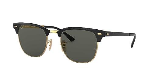 Amazon.com: Ray-Ban Metal Unisex Polarized Square Sunglasses ...