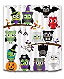 Cute Cartoon Owl Decoration Shower Curtain Polyester Fabric 3D Digital Printing 72x72'' Mildew Resistant Waterproof Owls Halloween Dance Party Fancy Ball Bathroom Bath Curtains