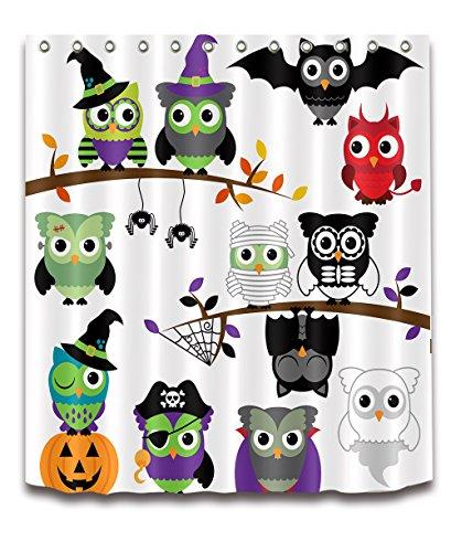 Cute Cartoon Owl Children Decoration Shower Curtain Polyester Fabric 3D 72x72'' Mildew Resistant Waterproof Owls Halloween Dance Party Fancy Ball Kids Bathroom Accessories Bath Liner Mat by LB™ cartoon series <p><B>Magic Button</B> (Image #1)