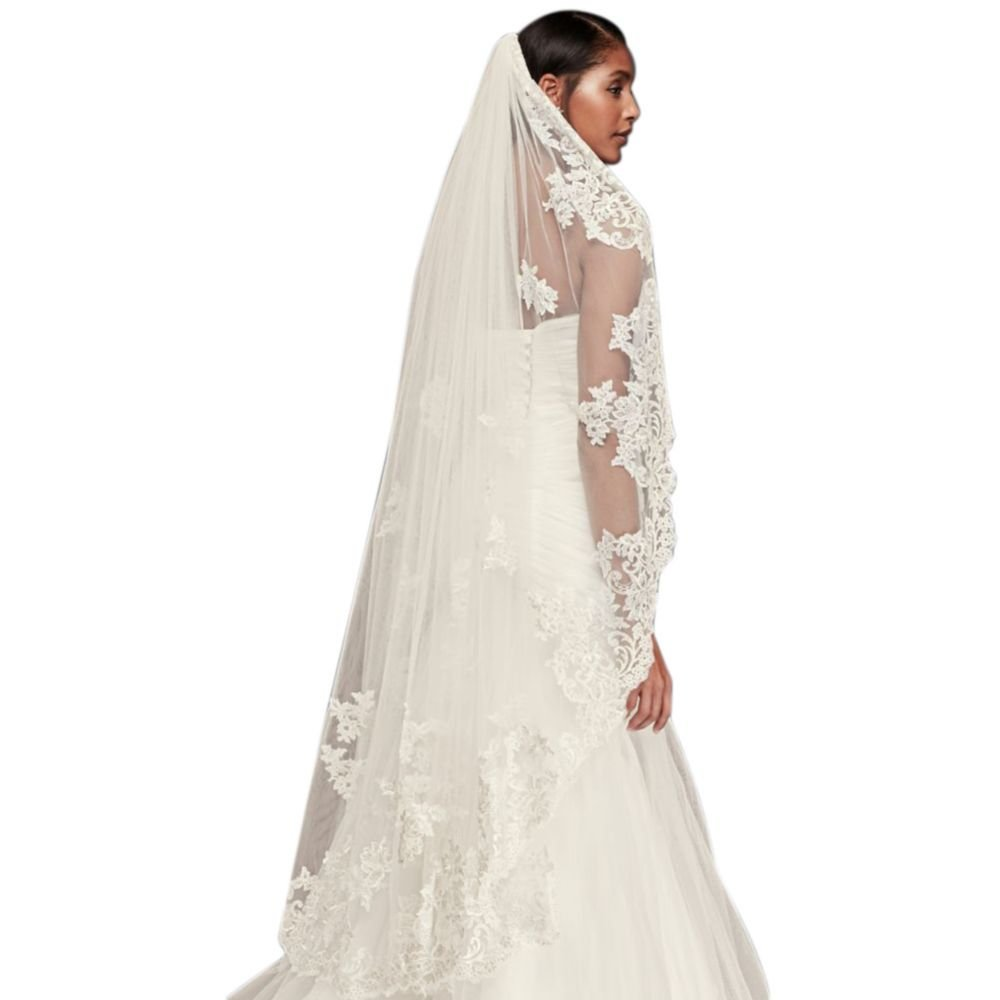 Metallic Embroidered Walking Veil with Appliques Style V2013, White
