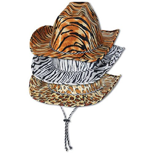 Pack of 6 Assorted Animal Print Cowboy Hat Party Accessories 15