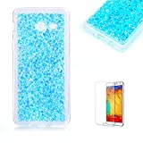 For Samsung Galaxy J7 2017 Case with Free Screen Protector.Funyye Luxury Fashion Bling Glitter Paillette Flexible Soft Rubber Gel TPU Protective Case for Samsung Galaxy J7 (2017 Model)-Blue