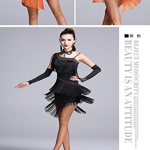 L Black Da Vestito Di Vestito Latino Per Guanti Samba Donna Abito Con Nappa Ballo Danza Da Rumba Performance xgqw8nBTa