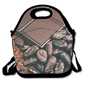 Kooiico Bar Of Chocolate Cocoa Beans Cocoa Powder Lunch Tote Lunch Bag Outdoor Picnic Reusable