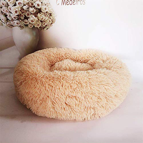 BOOB 2019 Deep Sleep Dog House Kennel Round Nest Autumn Winter Cat Mattress for Small Medium Dogs Pet Supplies Dog Bed Kennel Apricot 50cm (Cabana Dog Crate Cover)