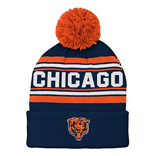 Bears Youth Apparel - NFL Chicago Bears Kids & Youth Boys Jacquard Cuffed Knit Hat with Pom Deep Obsidian, Youth One Size