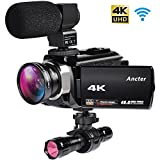 4K Camcorders, 48MP Ultra HD Wifi Video Cameras with IR Night Vision, 3.0 inch TouchScreen Digital Camcorder with Enhanced External Microphone and Wide Angle Lens (2 Batteries Included)