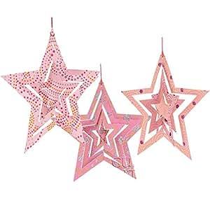 Luna Bazaar Star Origami Paper Ornaments (5.25-Inch, Pink, Set of 3)