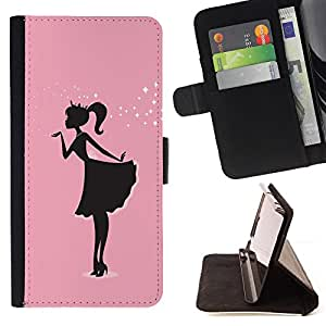 Girl Pink Dress Black Minimalist Sparkle - Painting Art Smile Face Style Design PU Leather Flip Stand Case Cover FOR Samsung Galaxy S5 V SM-G900 @ The Smurfs