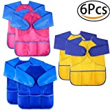 MAXHOPE 6 Pack Kids Art Smock Colorful Waterproof Children Art Aprons Artist Painting Aprons with Long Sleeve 3 Roomy Pockets for Age 3-8 Years