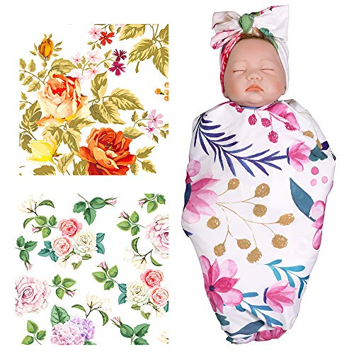 3 Pack Newborn Receiving Blanket with Headband Set for Baby, TRUEDAYS Floral Pattern Soft Newborn Girl Swaddle Blankets Baby Shower Gifts