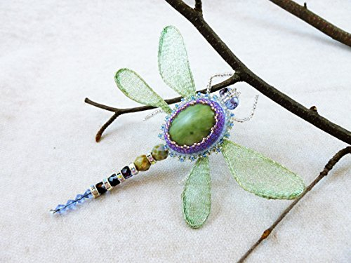 Dragonfly Brooch, insect jewelry, Natural gemstone Dragonfly brooch, OOAK Dragonfly pin, Insect pin, Insect Brooch with fancy jasper by IgnisDesignStudio