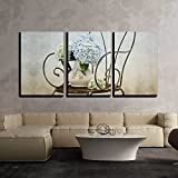wall26 - 3 Piece Canvas Wall Art - Still Life with Hortensia Flowers in Old Vase on Retro Chair - Modern Home Decor Stretched and Framed Ready to Hang - 16''x24''x3 Panels