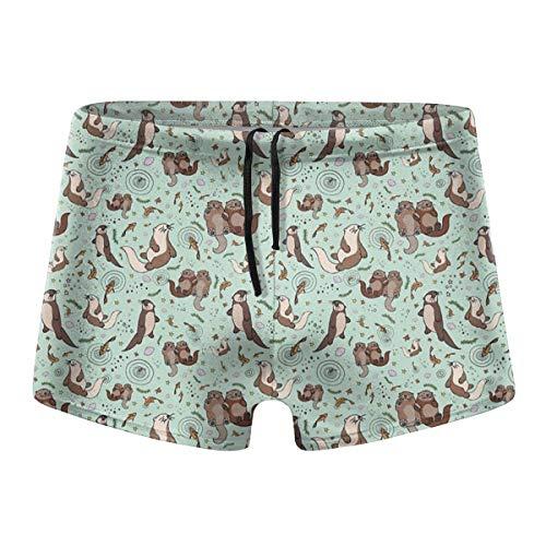 349tg1u Happy Sea Otter Printed Men's Swim Trunks Shorts Athletic Swimwear Briefs Boardshorts