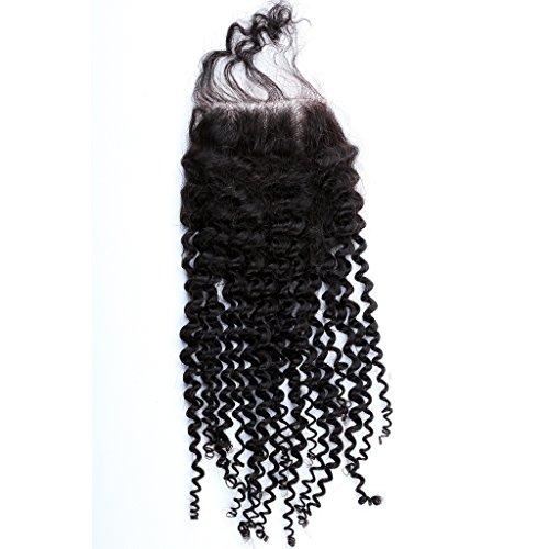 Freyja Hair Brazilian Virgin Hair Human Hair Closure With Baby Hair Kinky Curly Wave Top Lace Closure Part 8-20