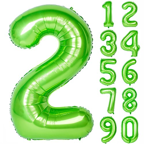 40 Inch Green Large Numbers 0-9 Birthday Party Decorations Helium Foil Mylar Big Number Balloon Digital 2 -