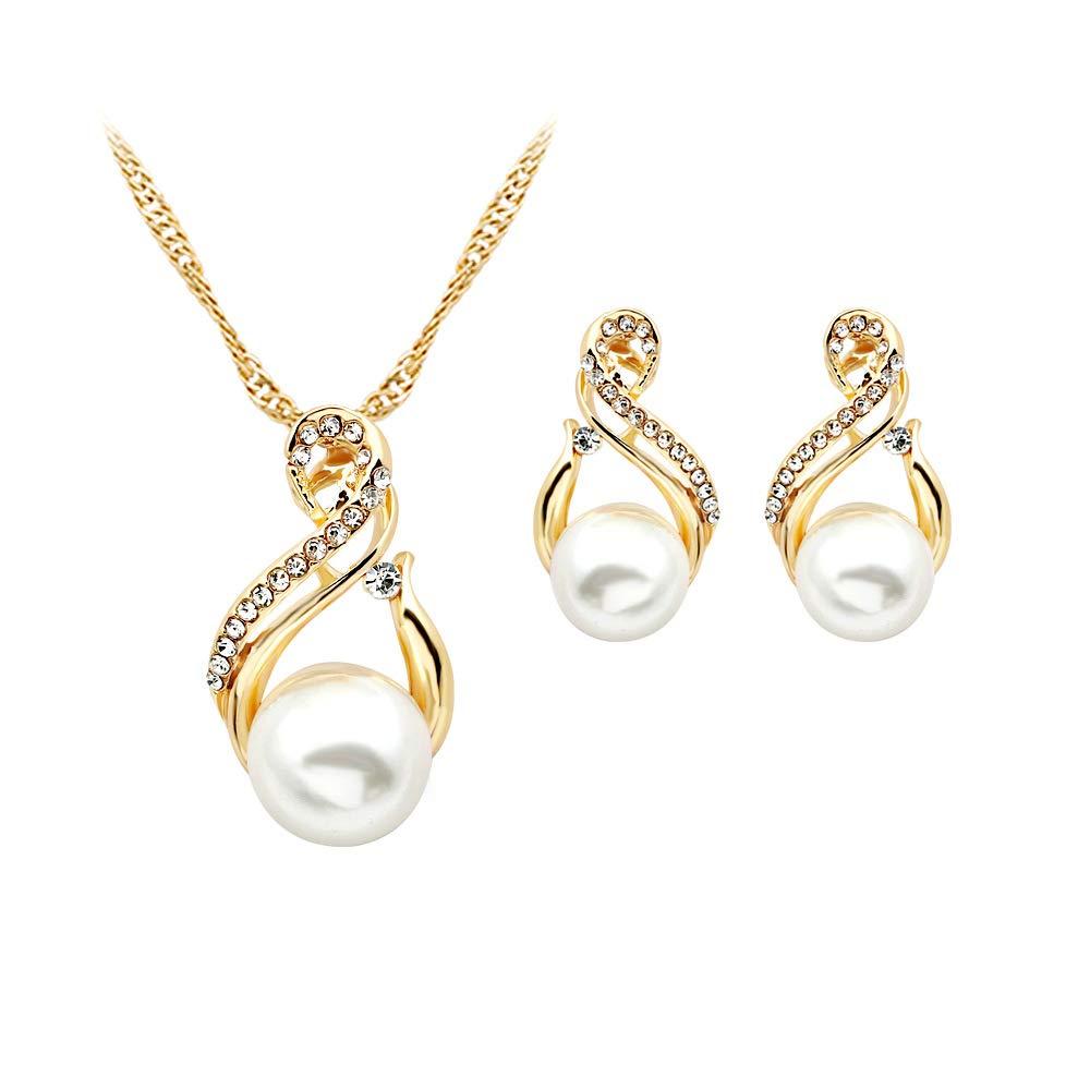 Collar de circ/ón de Gota de Agua y aretes de Alianza chapados en Oro Perla para Mujeres Elegantes y Populares Ogquaton Conjunto de Joyas