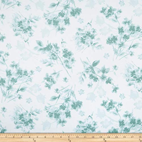 Maywood Studio Watercolor Hydrangeas Tonal Floral Fabric, Blue/Teal, Fabric By The Yard