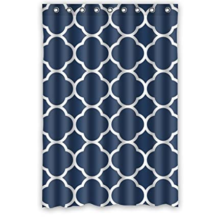 Personalized Classic Navy Blue Quatrefoil Bathroom Waterproof Polyester Fabric Shower Curtain 48quot