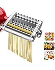 Galifode 3 in 1 Stainless Steel Pasta Maker Attachment for Kitchenaid Stand Mixers, Pasta Sheet Roller,Spaghetti Cutter,Fettuccine Cutter,Cleaning Brush