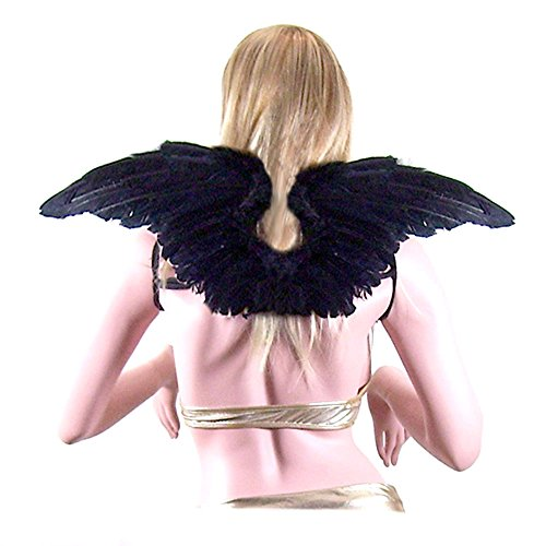 SACASUSA (TM) Large Black Feather Angel Fairy Wings with Free Halo (Pink Nymph Fairy Costume)