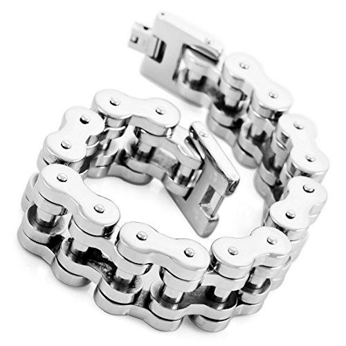 INBLUE Mens Stainless Steel Bracelet Link Wrist Silver Tone ( Weight 200g )