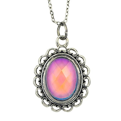Fun Jewels Vintage Multi Color Change Facet Oval Stone Pendant Mood Necklace 18