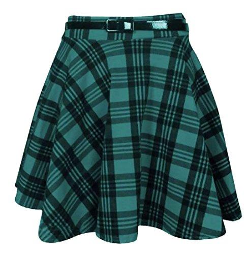 femmes neuf tartan  carreaux imprim DAMES Court Mini fin Dtachable Taille Jupe vase ceinture patineuse plisse rouge jupe Green Tartan Print