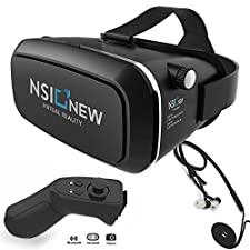 Virtual Reality Headset by NSInew - Truly Immersive VR Headset or 3D VR Glasses for Games - Adjustable, Comfortable & Widely Compatible - Magnetic Front Cover - Includes Bluetooth Remote & Headphones