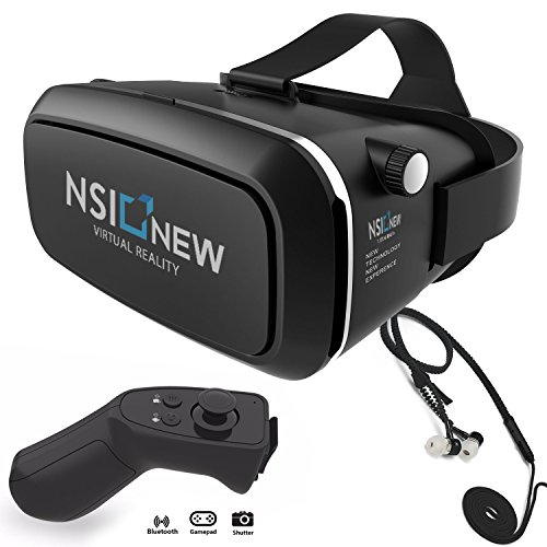 Virtual Reality Headset by NSInew – Truly Immersive VR Headset or 3D VR Glasses for Games – Adjustable, Comfortable & Widely Compatible – Magnetic Front Cover – Includes Bluetooth Remote & Headphones