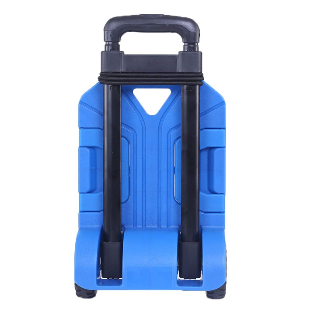Trolley Luggage Carts Folding Compact, 360° Rotating Travel Cart, Chassis Expandable, Adjustable Lever, Portable Folding, Maximum Load Capacity 110lbs (Color : Blue)