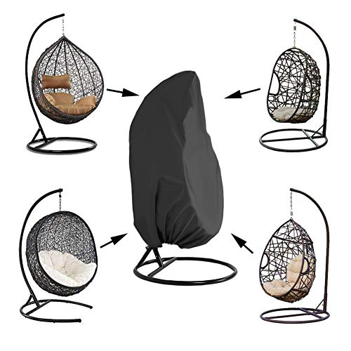 "Kasla Waterproof Cover for Patio Hanging Egg Swing Chair, Windproof Heavy Duty Garden Furniture Protector - 75""H x 45""D"